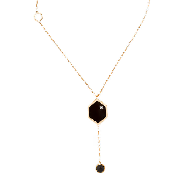 Double Sided Black Onyx + Diamond Hex Necklace