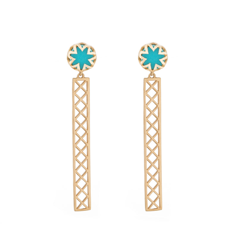 Turquoise Starburst Studs with Shorty Bars