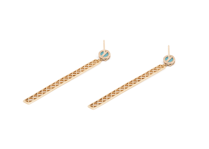 Turquoise + Solid Gold Starburst Studs with Long Bars