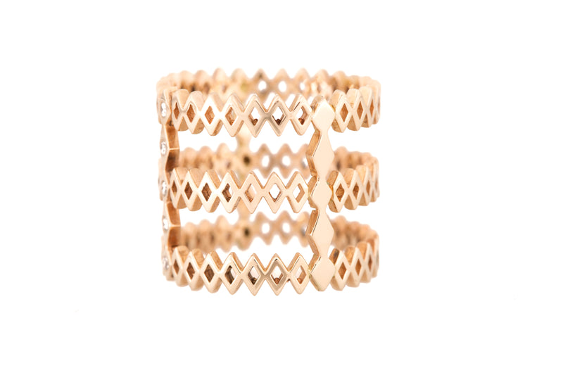 Diamond + Solid Gold Three Layer Ring