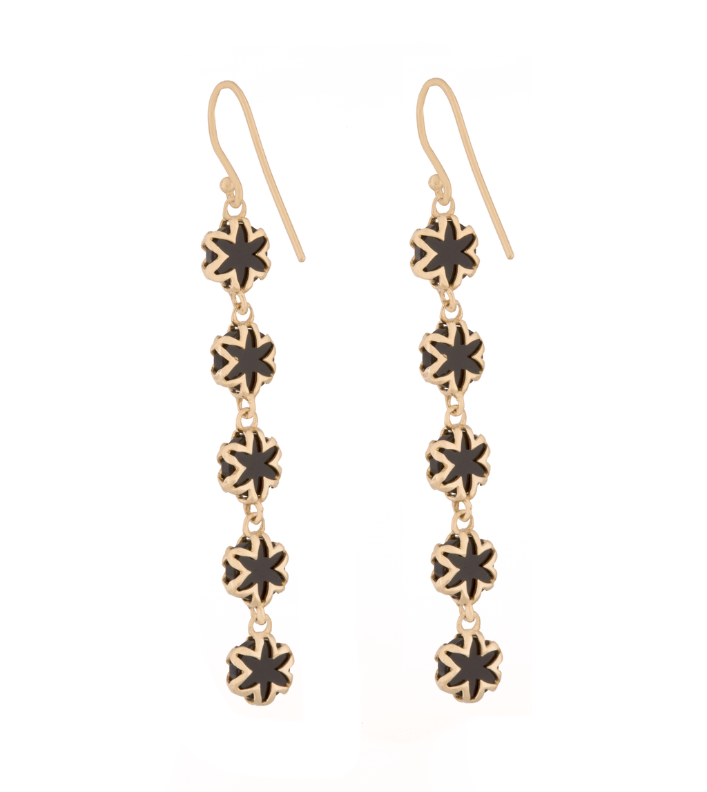 Black Onyx Starburst Drop Earrings