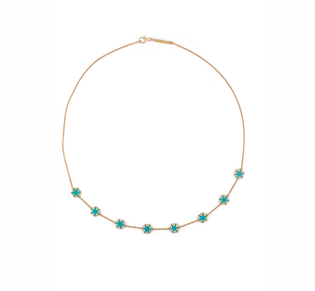 Turquoise + Solid Gold Starburst Necklace