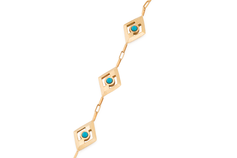 Turquoise + Solid Gold Triple Eye Finger Bracelet