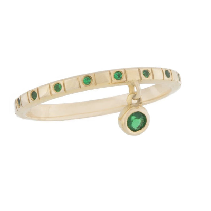 Solid Gold Square Dot Ring With Dancing Emerald