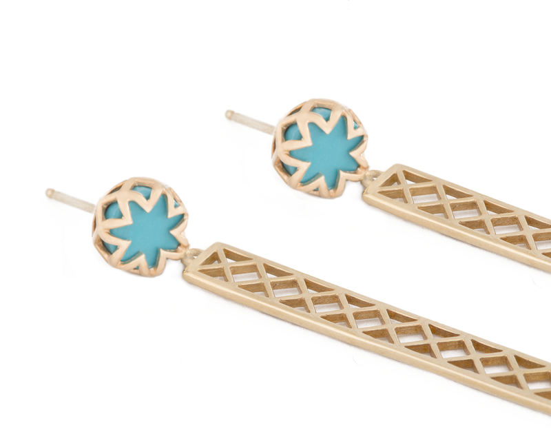 Turquoise Starburst Studs with Long Bars
