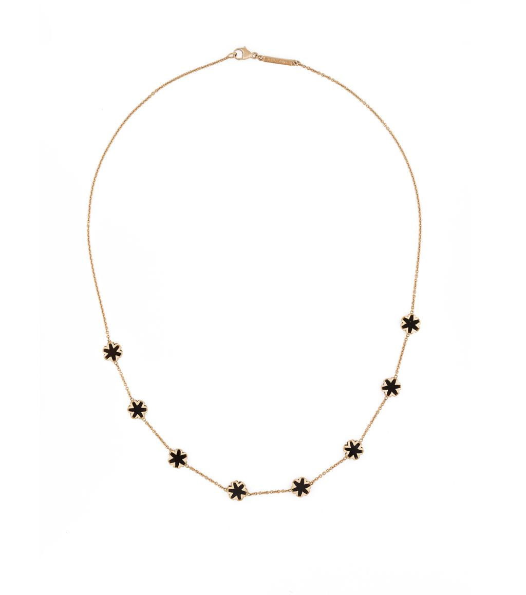 Black Onyx Starburst Necklace in 18K