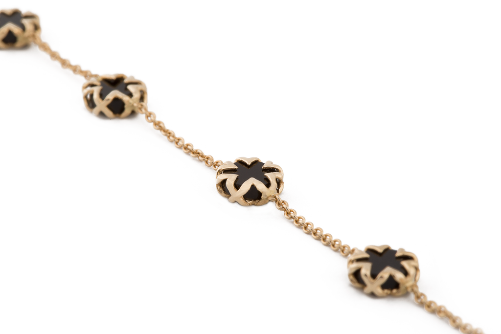 Black Onyx + Solid Gold Starburst Necklace