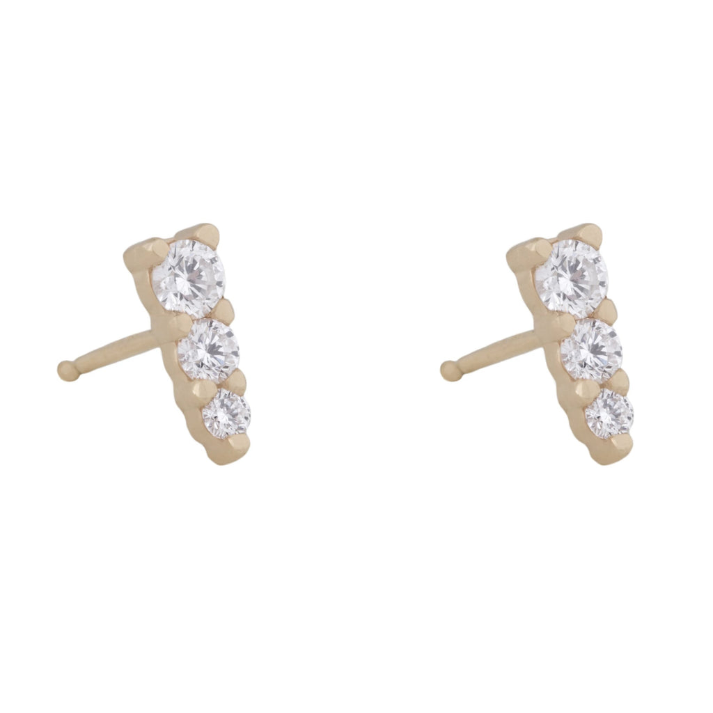 Three Amigas Diamond Studs in 18K