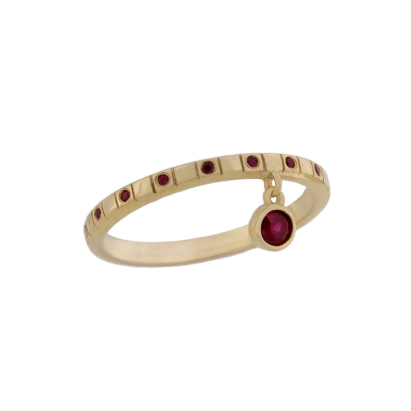 Square Dot Ring With Dancing Ruby