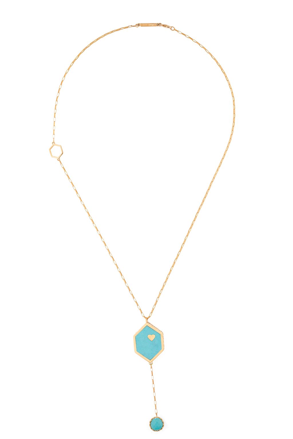 Solid Gold Double Sided Turquoise + Diamond Hex Necklace