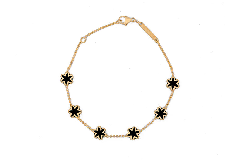 Black Onyx + Solid Gold Starburst Bracelet