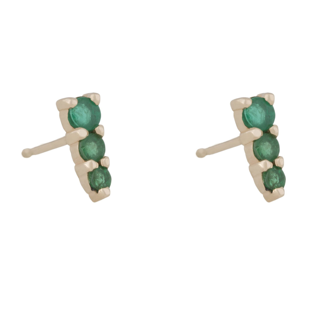Three Amigas Emerald Studs in 18K