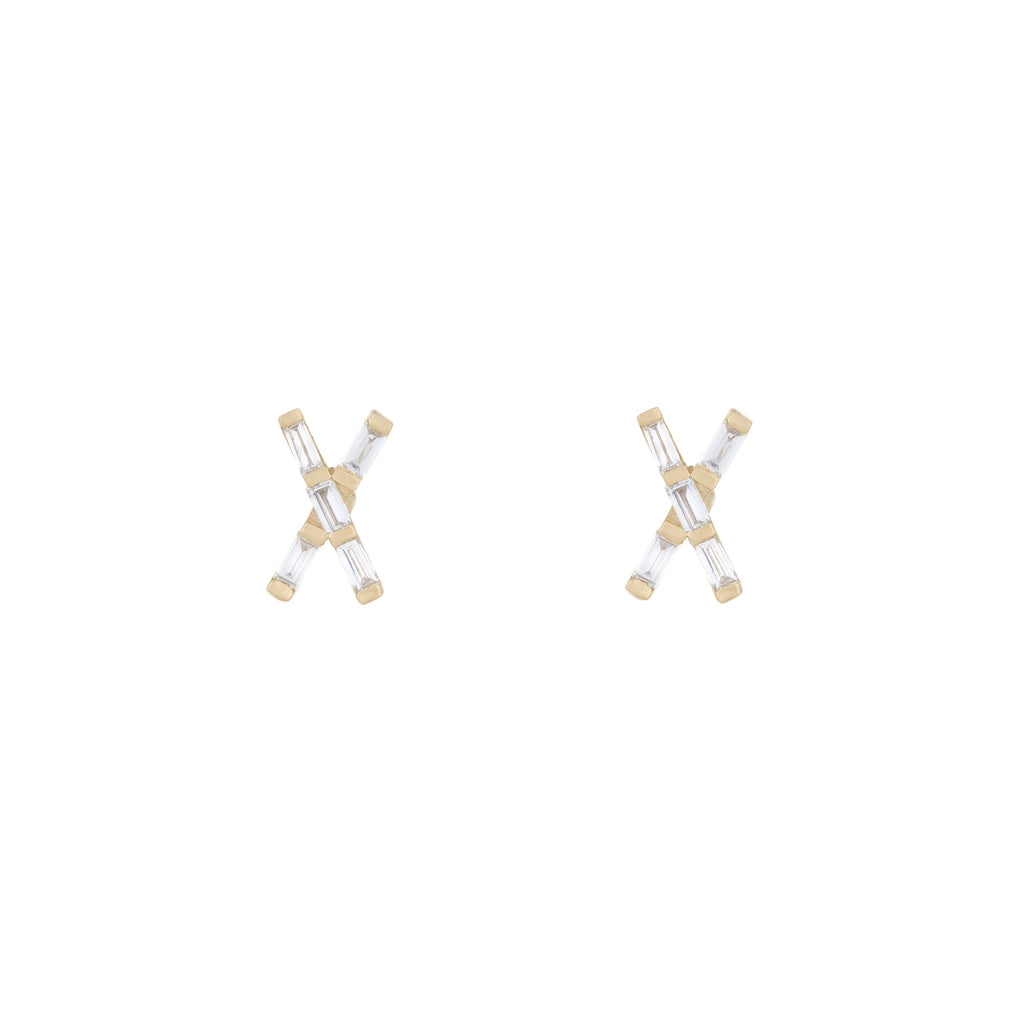 X Marks the Spot Diamond Studs in 18K