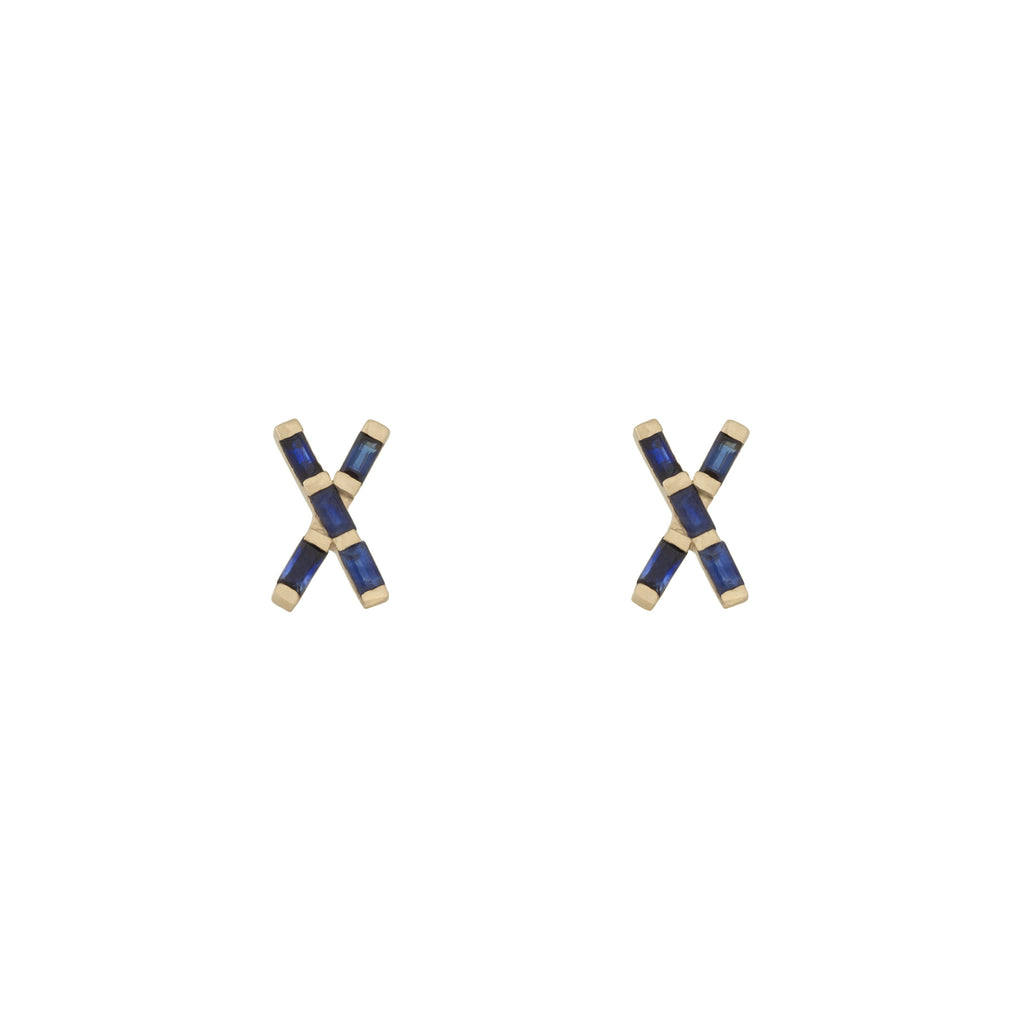 X Marks The Spot Blue Sapphire Studs in 18K