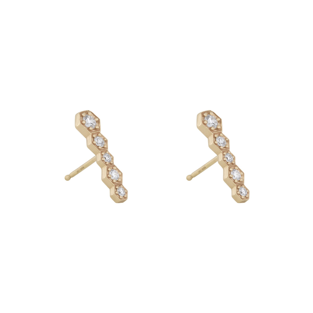 Hex Bar Studs in 18K