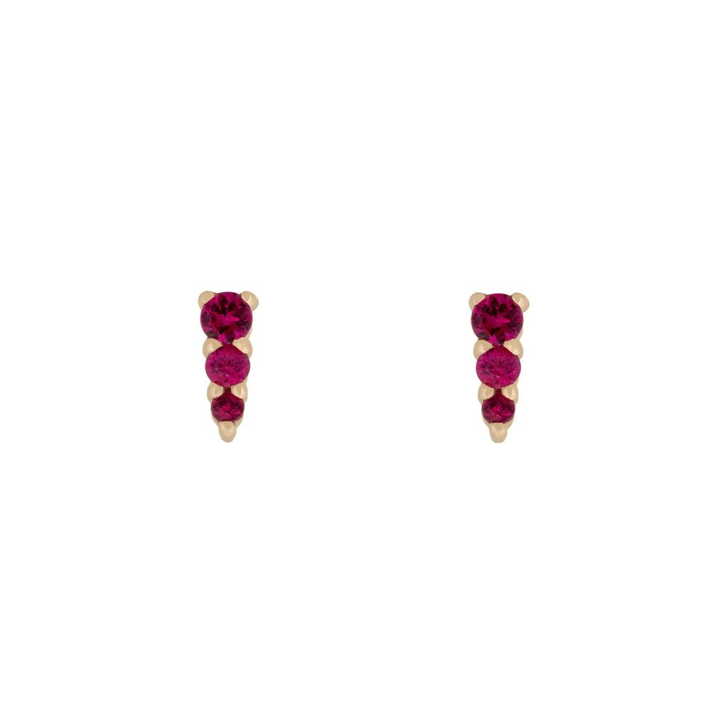 Three Amigas Ruby Studs