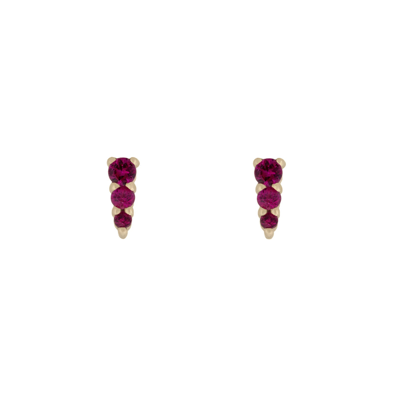 Three Amigas Ruby Studs in 18K