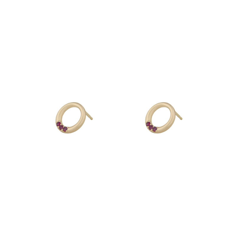 Ruby Circle Studs in 18K
