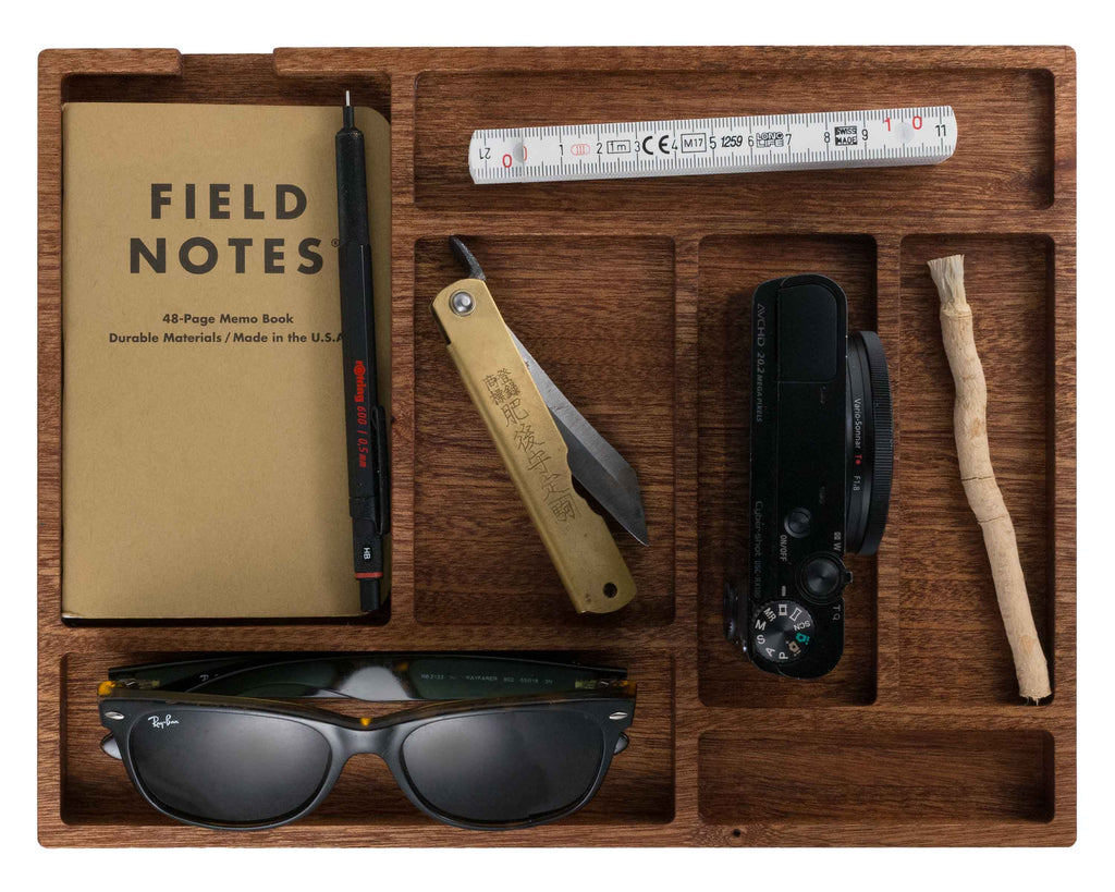 Panoply Custom Boone EDC Tray in Sapele Wood. Tray with Ray Ban Sunglasses, Field Notes, Camera, Knife, Ruler, and Twig