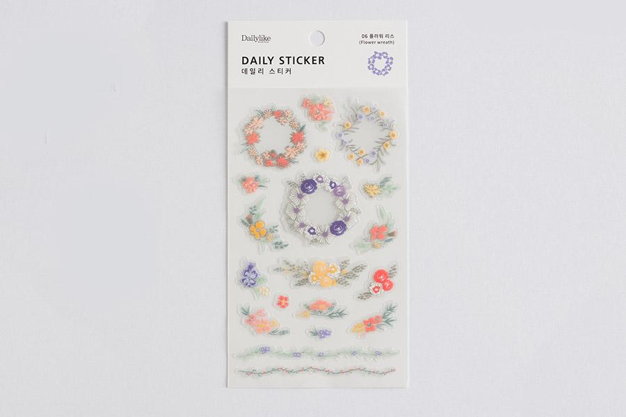 DailyLike Daily sticker - 06 flower wreath (DPS15) | Washi Wednesday