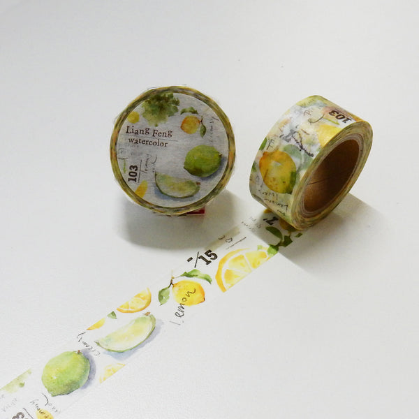 Round Top x Liang Feng Lemon Sicily (Die-Cut) Watercolor Washi Tape (MTW-LF005) | Washi Wednesday