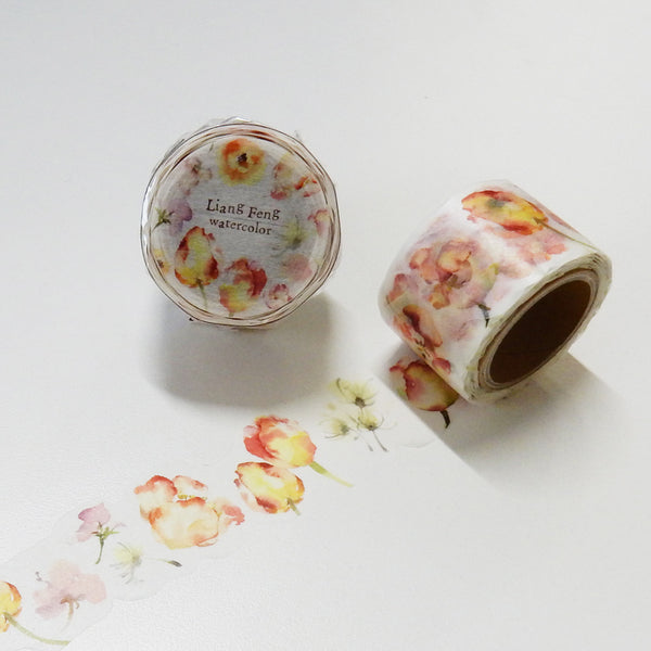 Round Top x Liang Feng Flower Song (Die-Cut) Watercolor Washi Tape (MTW-LF007) | Washi Wednesday