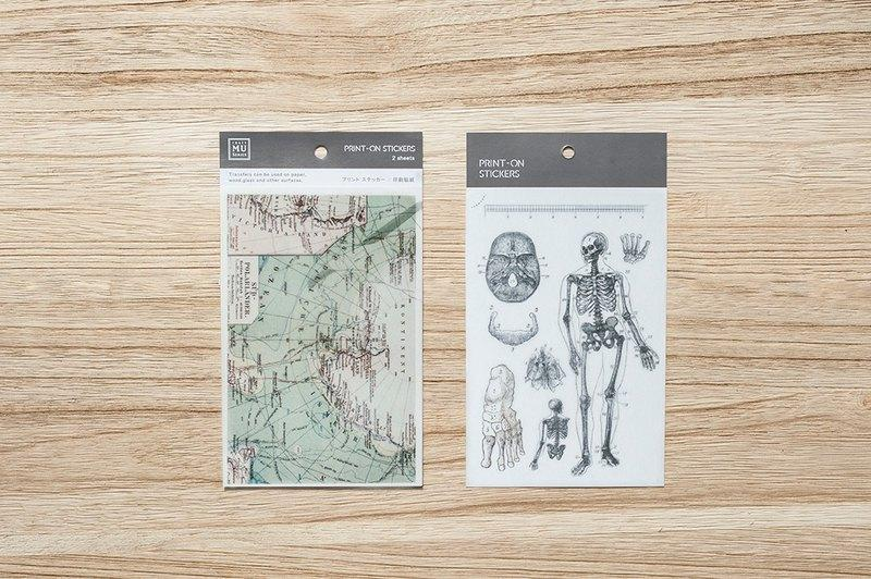 Mu Craft Print-On Sticker Vintage Map & Skeleton