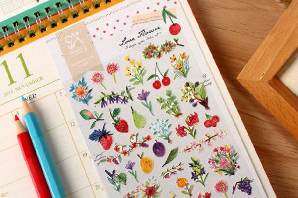 Sonia Love Flower sticker (2035) | Cute Korean Stickers | Washi Wednesday