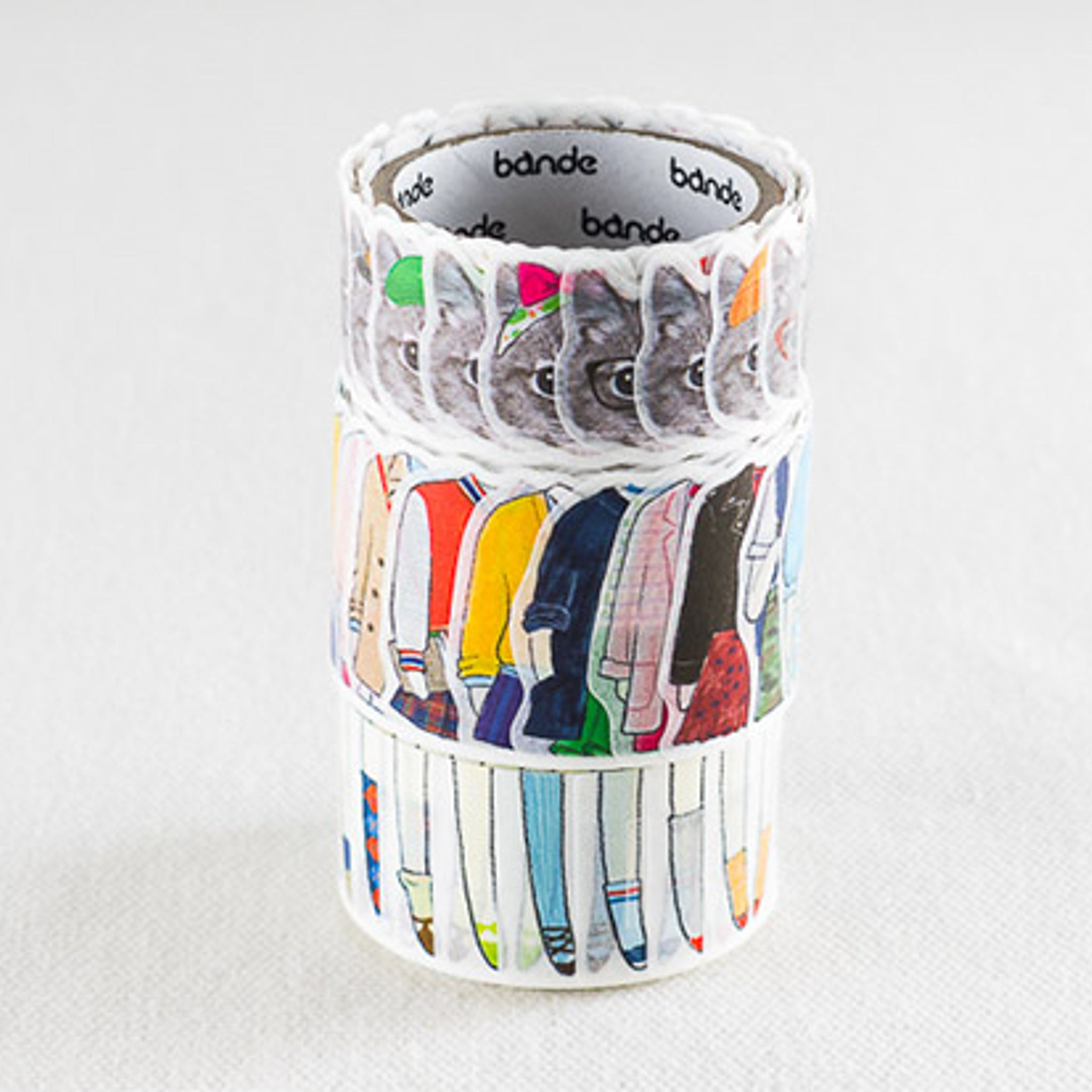 Bande Silver Tabby Washi Roll Sticker