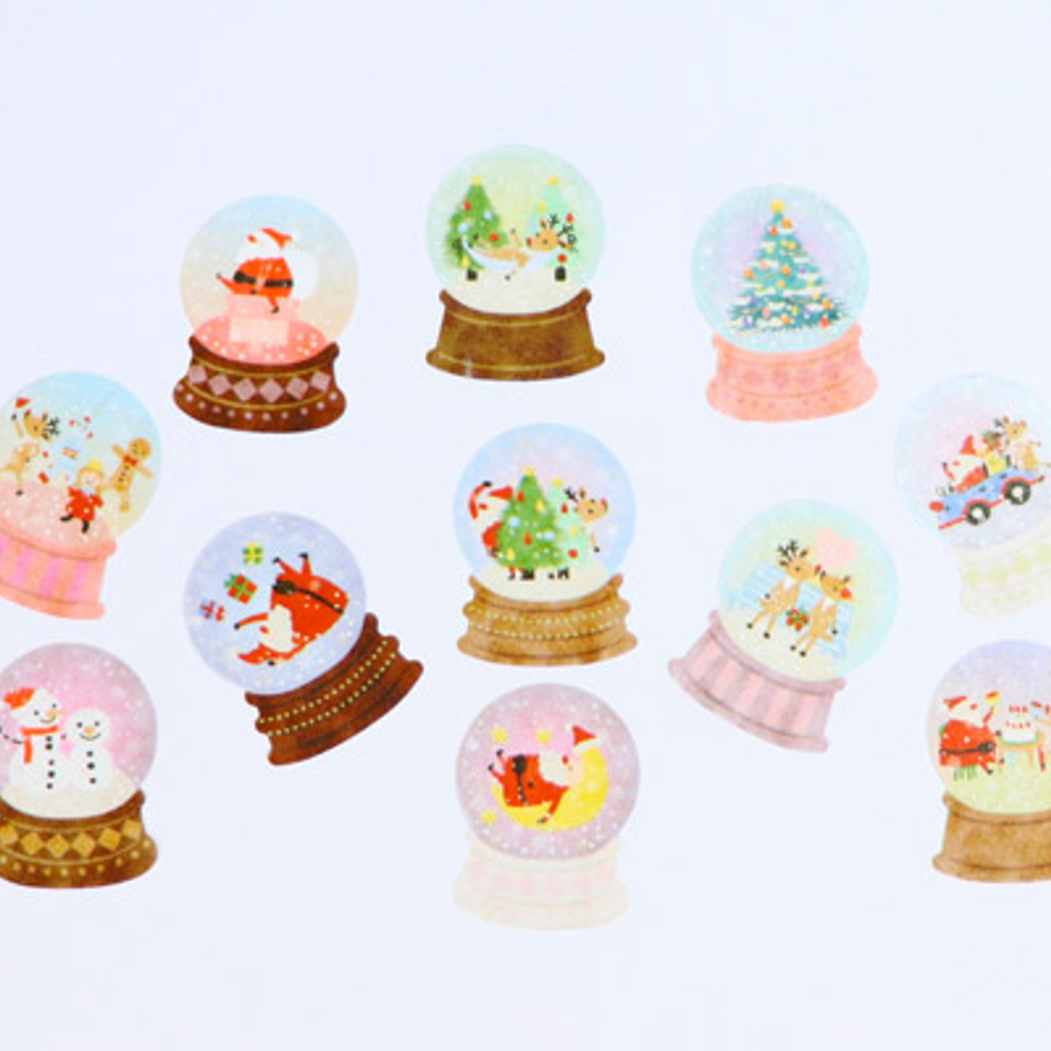 Bande Christmas Snow Domes Washi Roll Sticker