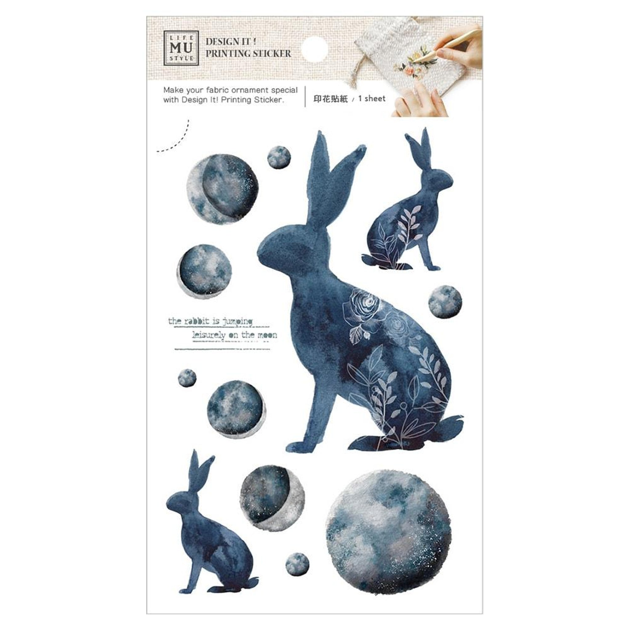MU Craft Printing Sticker & Pouch Set Rabbit & Moon 001