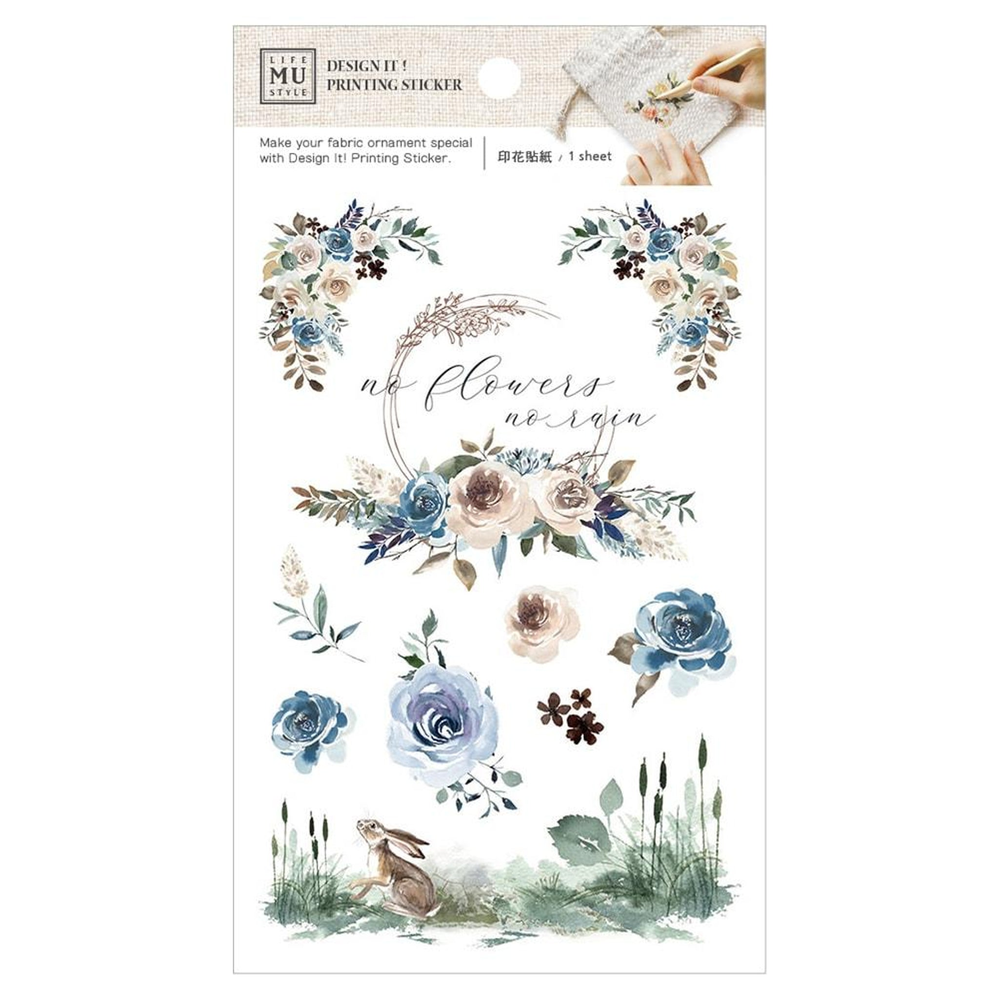 MU Craft Printing Sticker & Pouch Set Blue Roses And Rabbit 007
