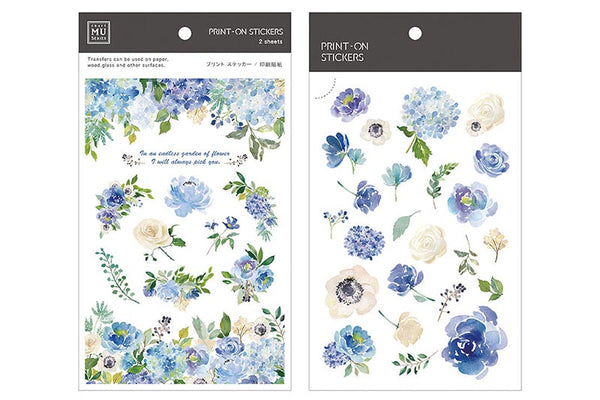 Mu Craft Print-On Sticker Blue Rose