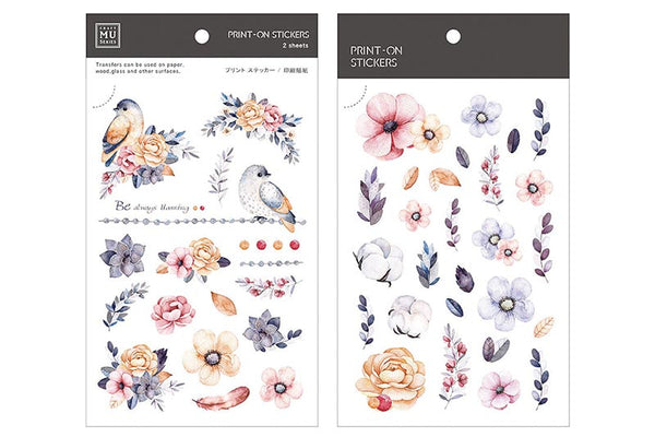 Mu Craft Print-On Sticker Garden Pink