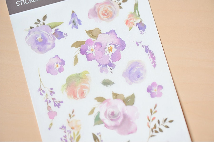 Mu Craft Print-On Sticker Violet Roses 071