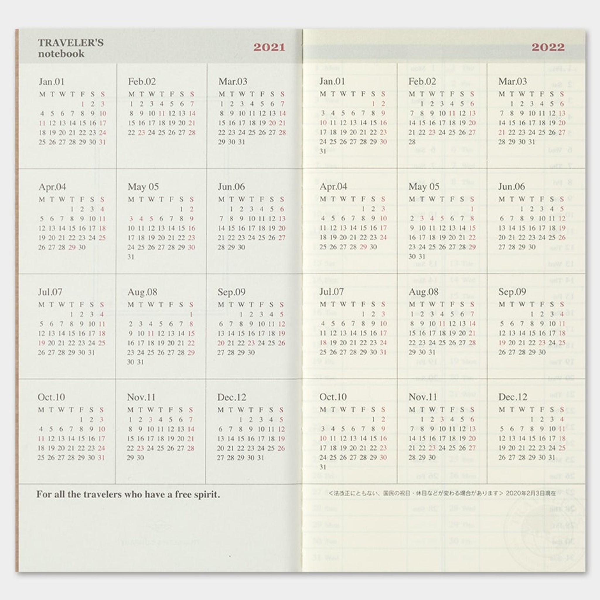 Traveler's Notebook 2021 Refill (Regular Size) Weekly + Memo