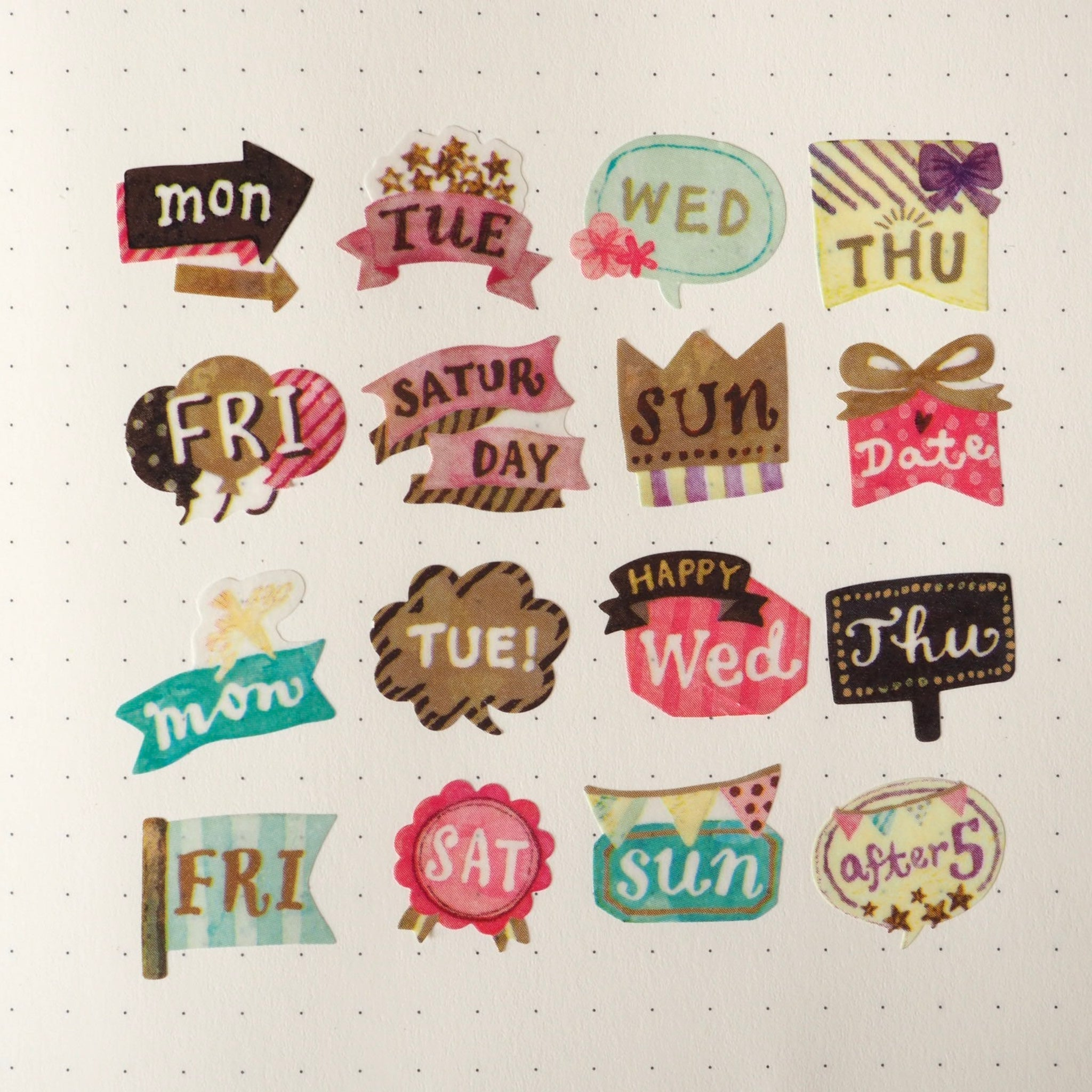 Bande Day of the Week Mini Washi Roll Sticker