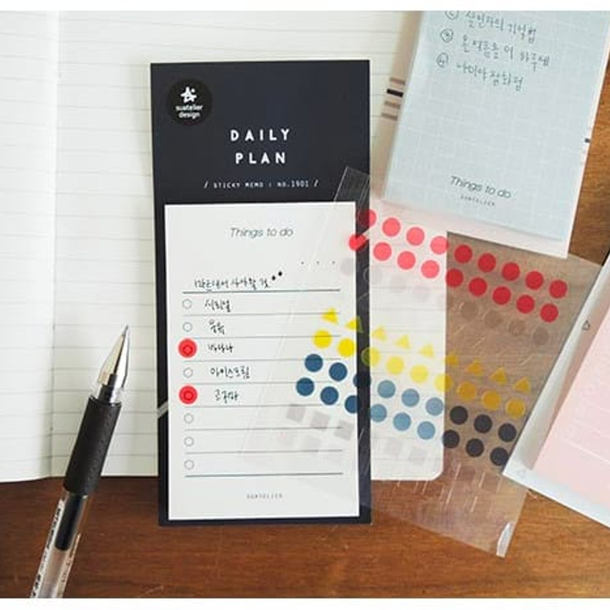 Suatelier Daily Plan Sticky Memo Black
