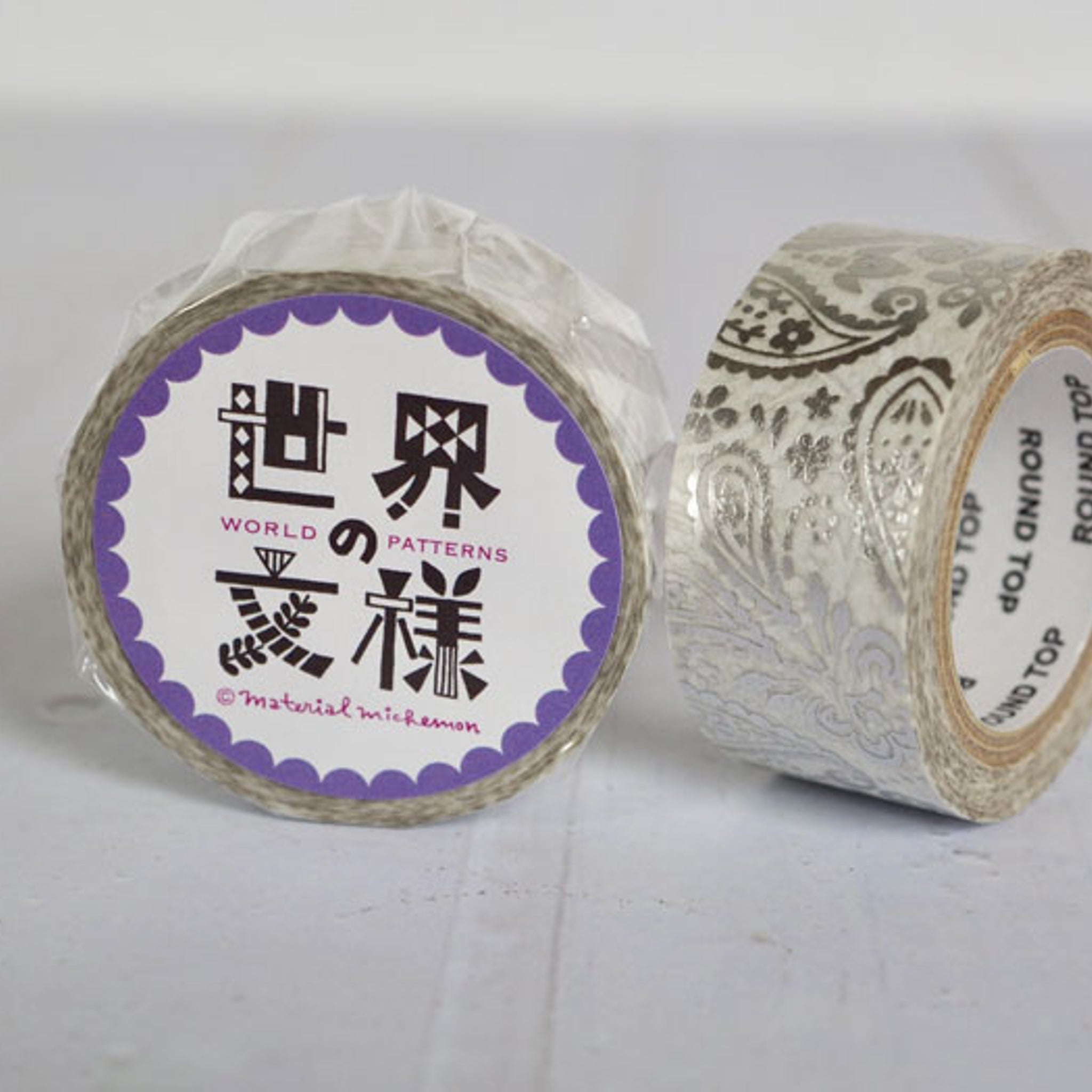 Round Top x Material Michemon Paisley (Silver Foil) Washi Tape