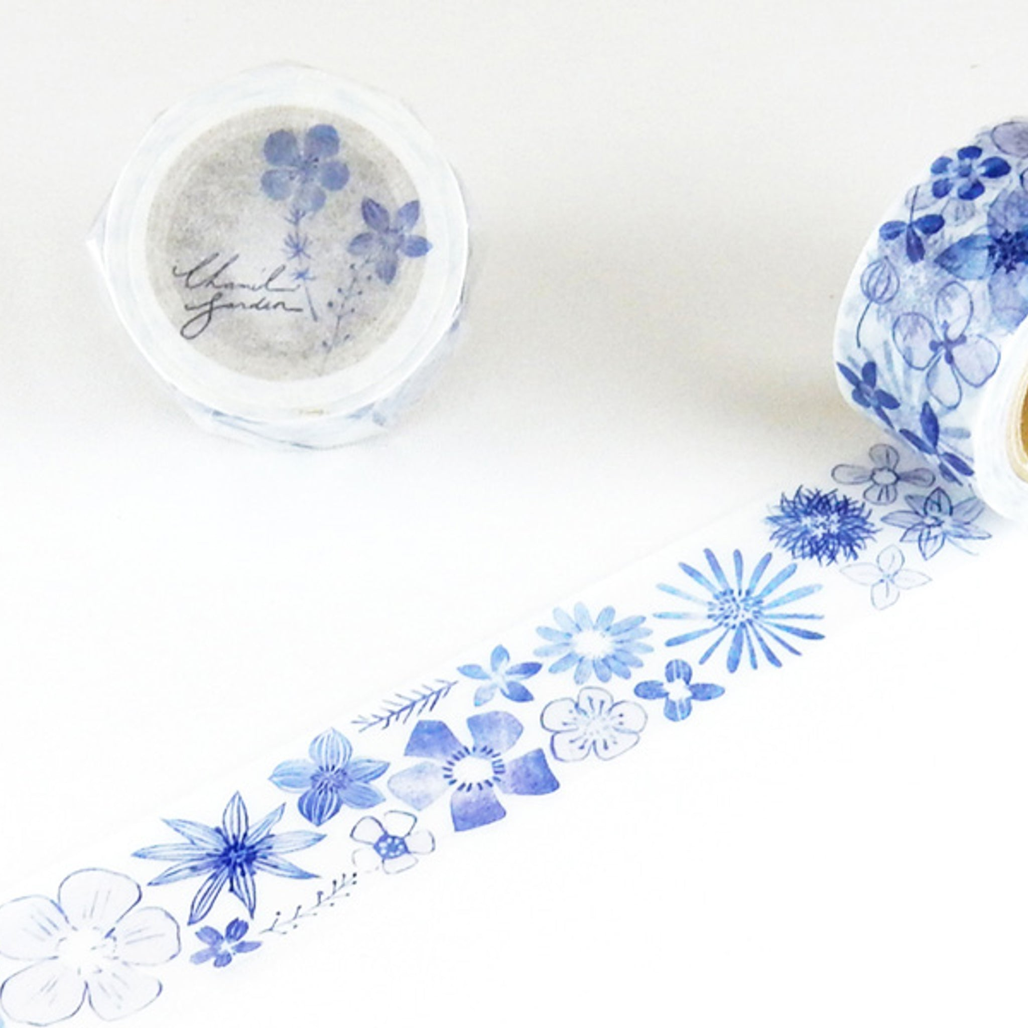 Round Top x ChamilGarden Flower Blue Washi Tape