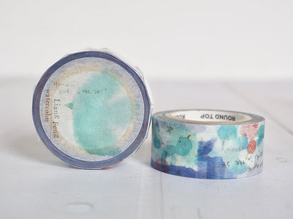 Round Top x Liang Feng Birds (Die-Cut) Watercolor Washi Tape (MTW-LF002) | Washi Wednesday