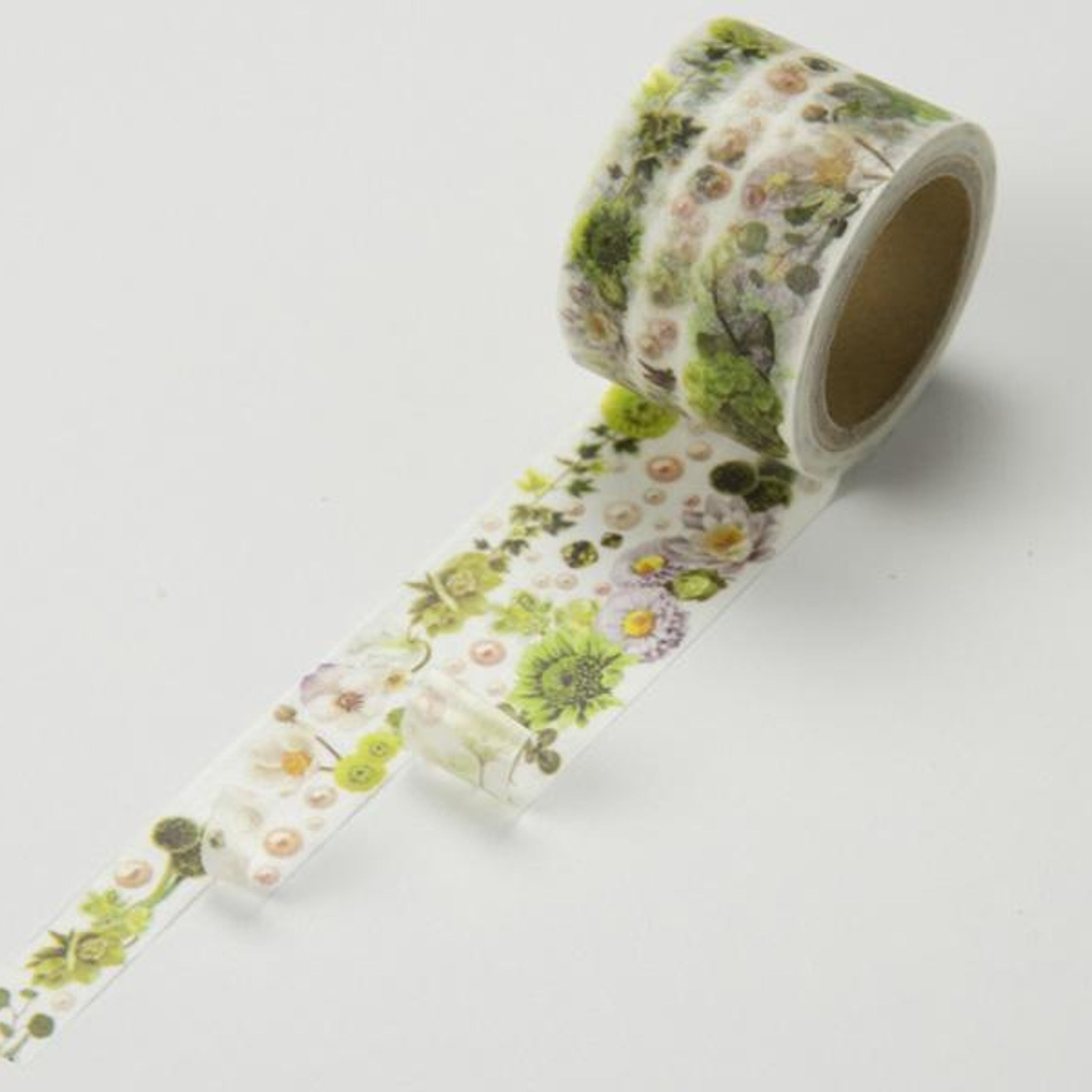 Round Top x Yano Design Flower Line - White & Green washi tape