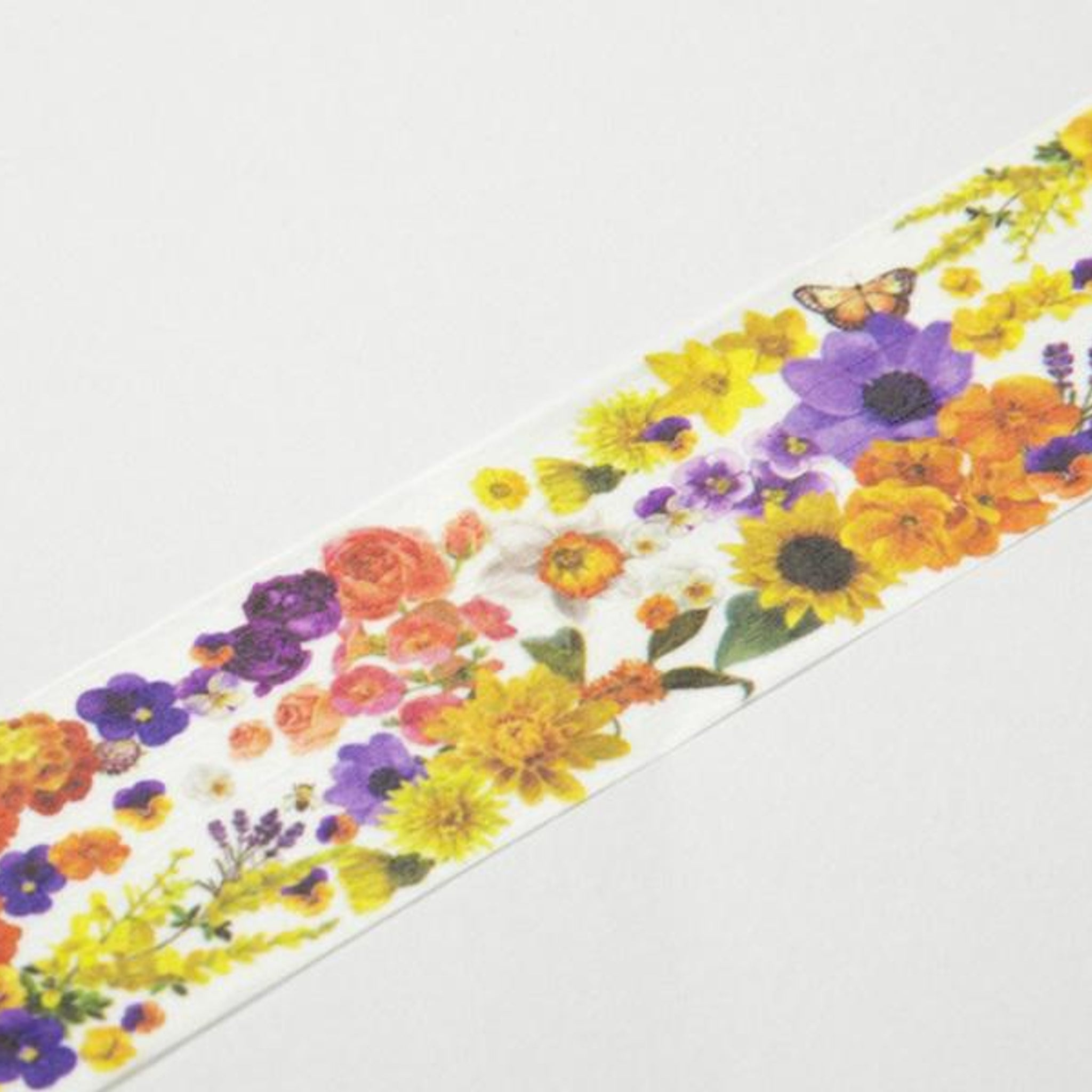 Round Top x Yano Design Flower Line - Orange & Yellow washi tape