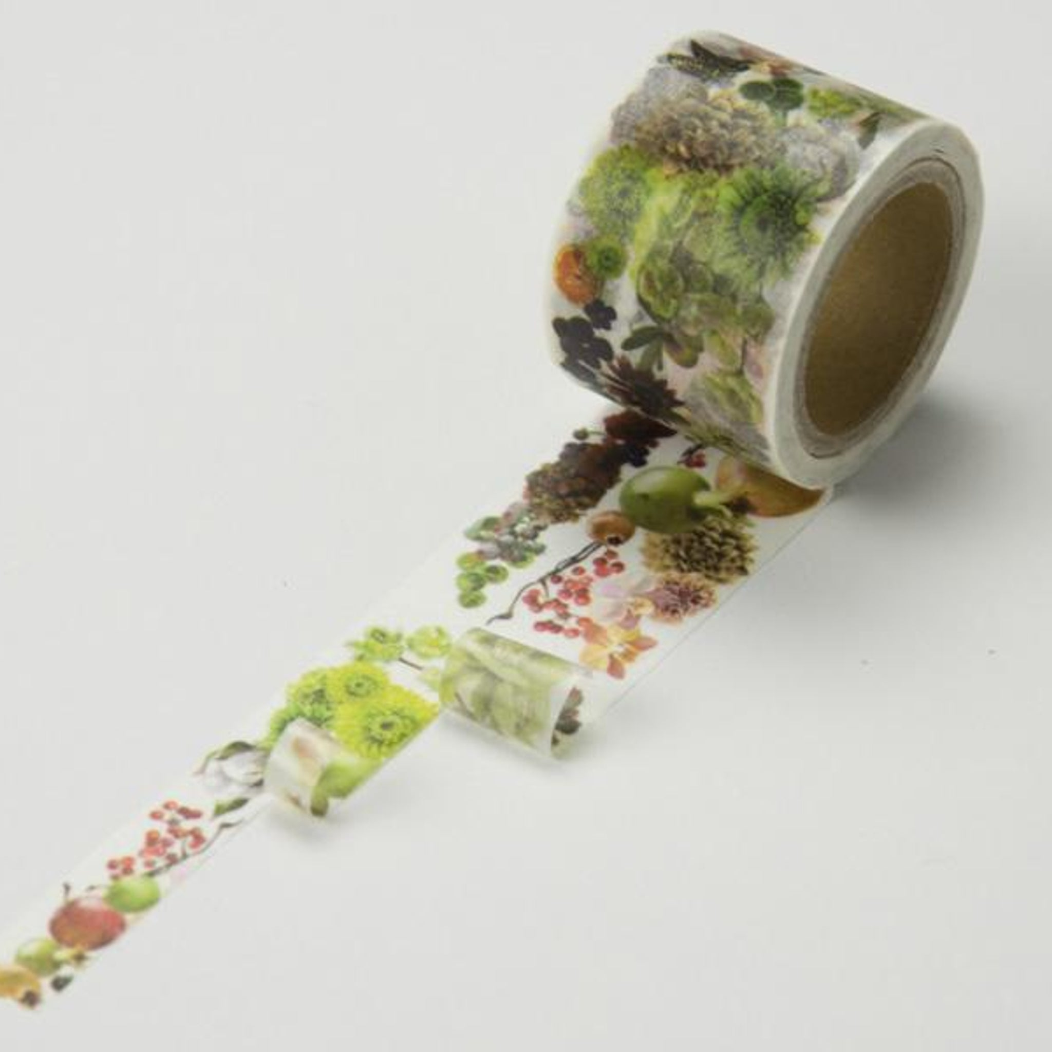 Round Top x Yano Design Flower Line - Beige & Fruit washi tape