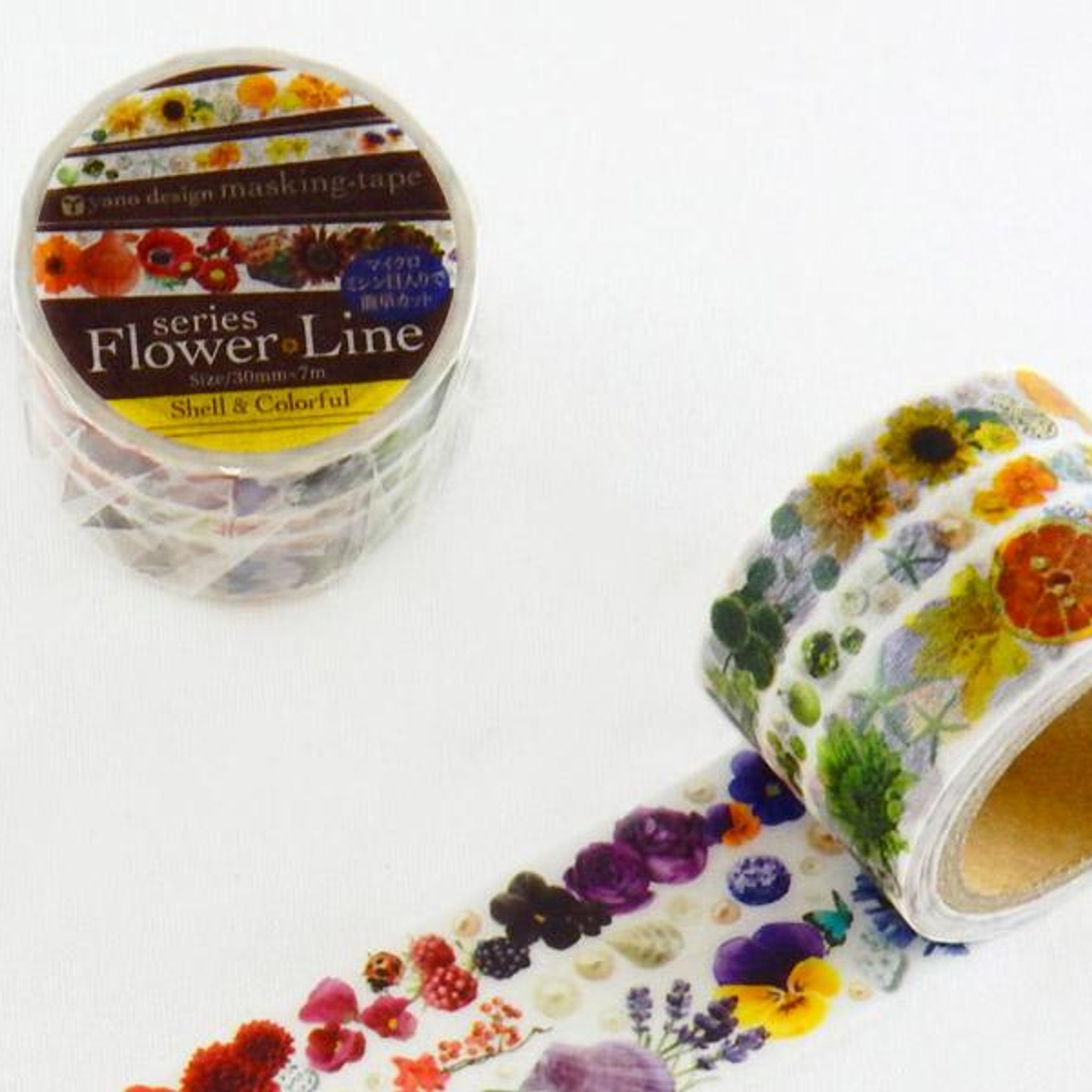 Round Top x Yano Design Flower Line - Shell & Colorful washi tape