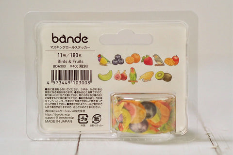 Bande Birds & Fruits Washi Roll Sticker