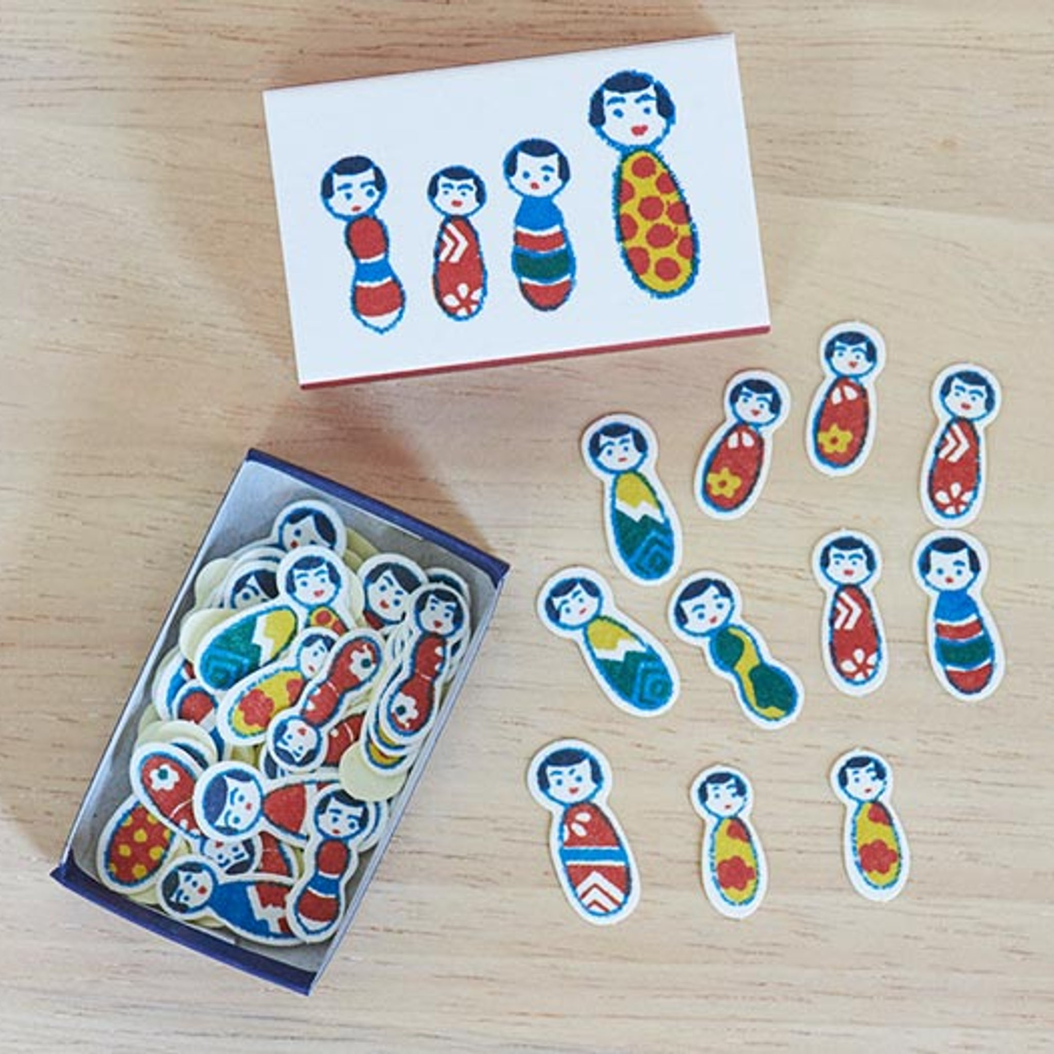 Classiky x Yonagado Kokeshi Doll Matchbox Small Sticker