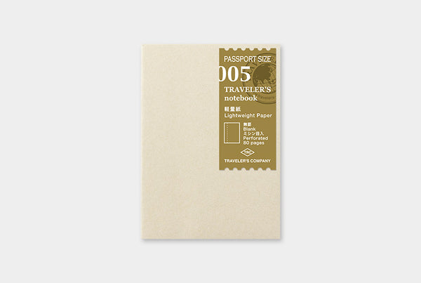 Traveler's Notebook Refill 005 (Passport Size) - Lightweight Paper | Washi Wednesday