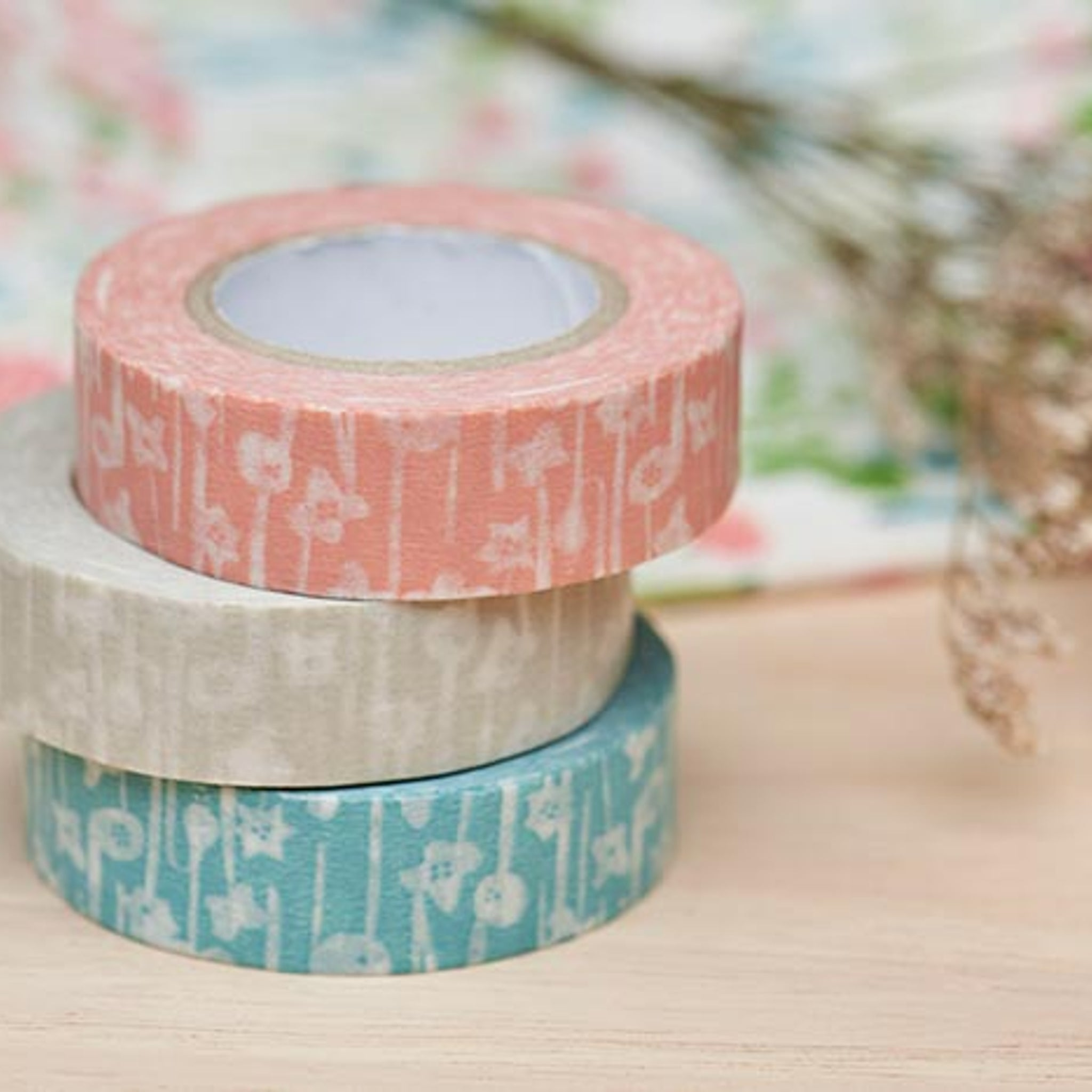Classiky x Rieko Oka Ten to Sen Small Flower washi tape blue