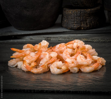 Cooked White Shrimp Peeled Deveined Tail On Shellfish Seafood